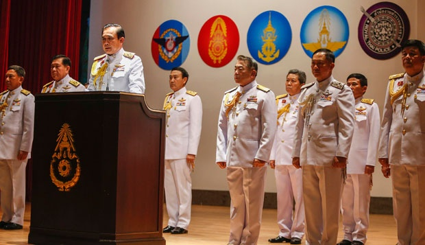 General Prayuth Chan-ocha and company appear before a news conference.  Copyright: REUTERS/Athit Perawongmetha