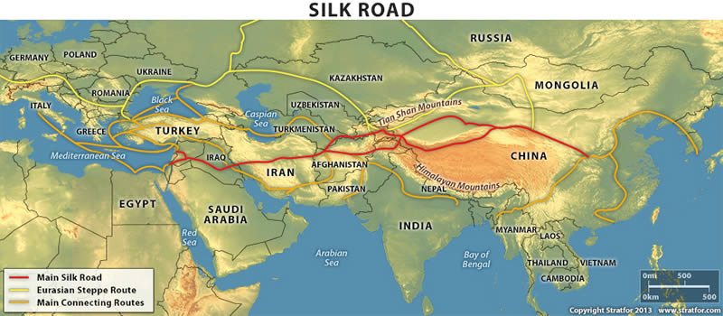 The ancient Silk Road Copyright: Stratfor.