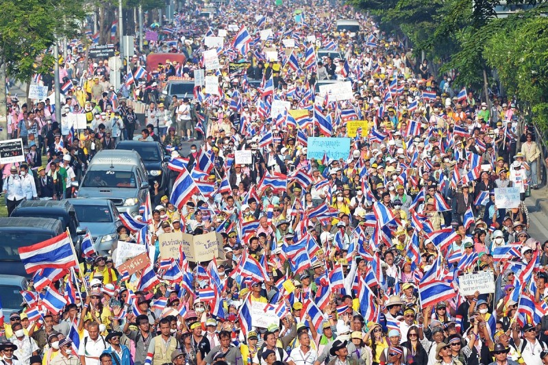 Scene of Thai protest 2013-2014.  Copyright: AFP/Getty Images/Pornchai Kittiwongsakul