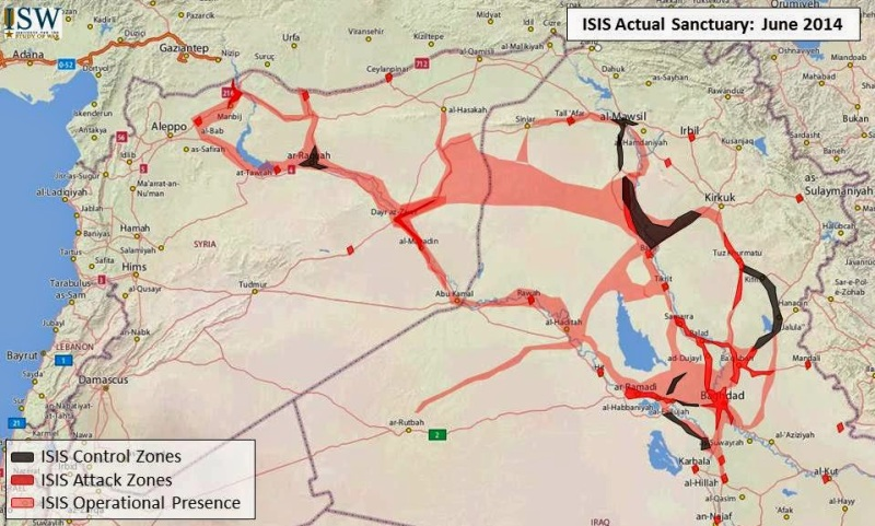 ISIS Actual Sanctuary June 2014. Copyright: Institute for the Study of War Iraq Updates