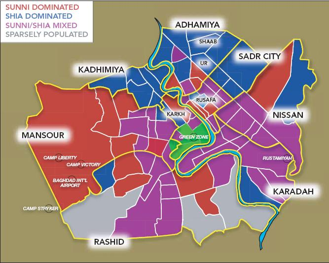 Map of Baghdad by sectarian composition. From: fastblogit.com